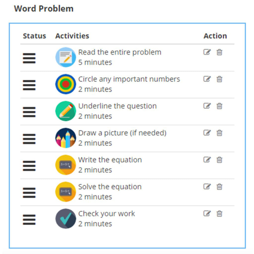Math routines for child with ADHD