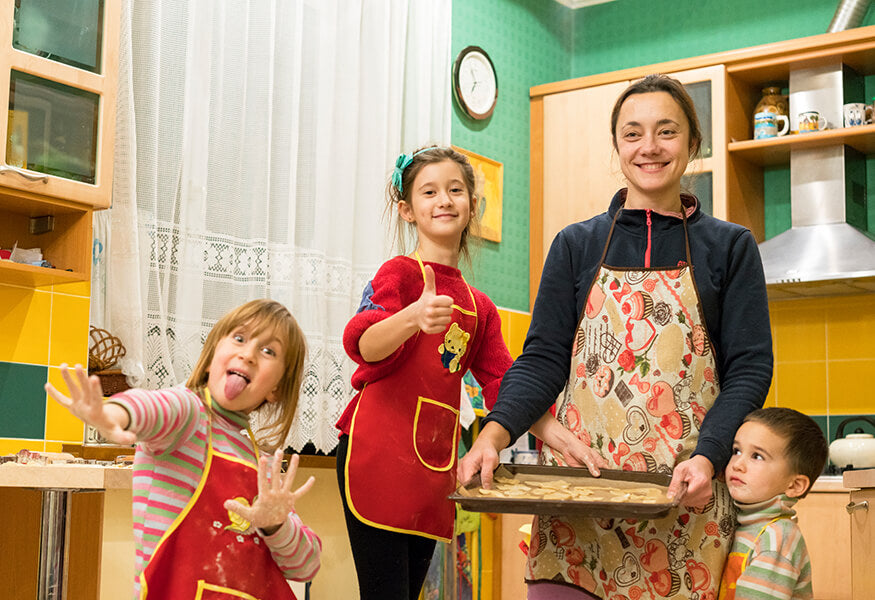Cooking with kids at home