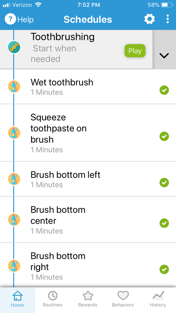 Routines for brushing teeth