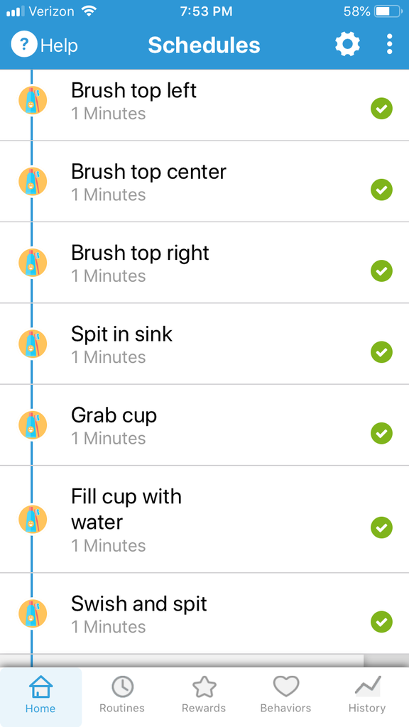 Toothbrushing routines on Goally