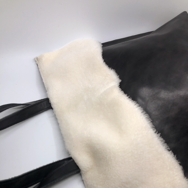 Harriet in Black + White Shearling