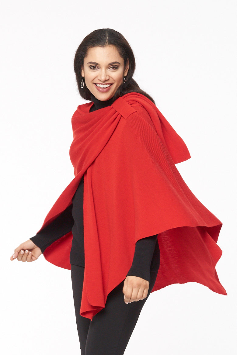 Emma merino wool one size wrap - red