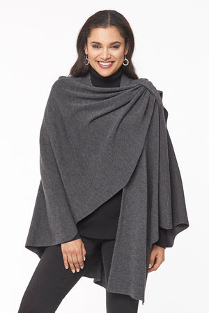 Emma merino wool one size wrap - grey