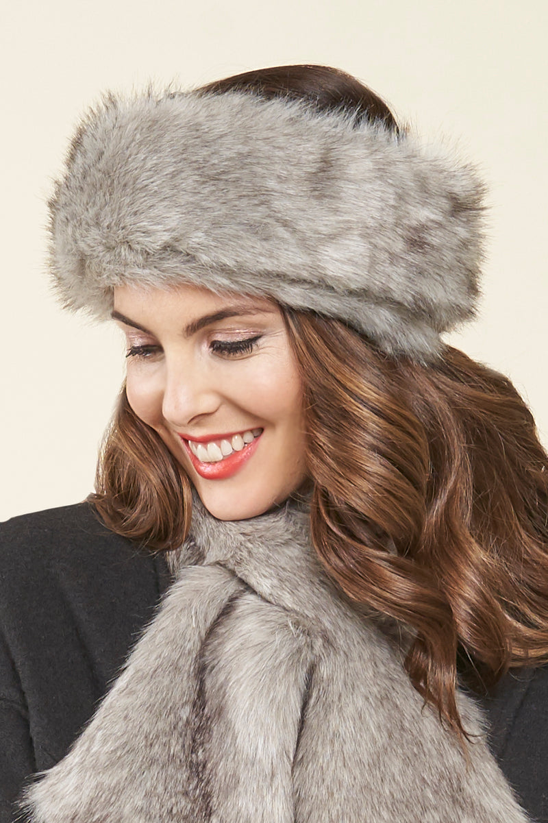 Haley Faux Fur Headband - granite fox