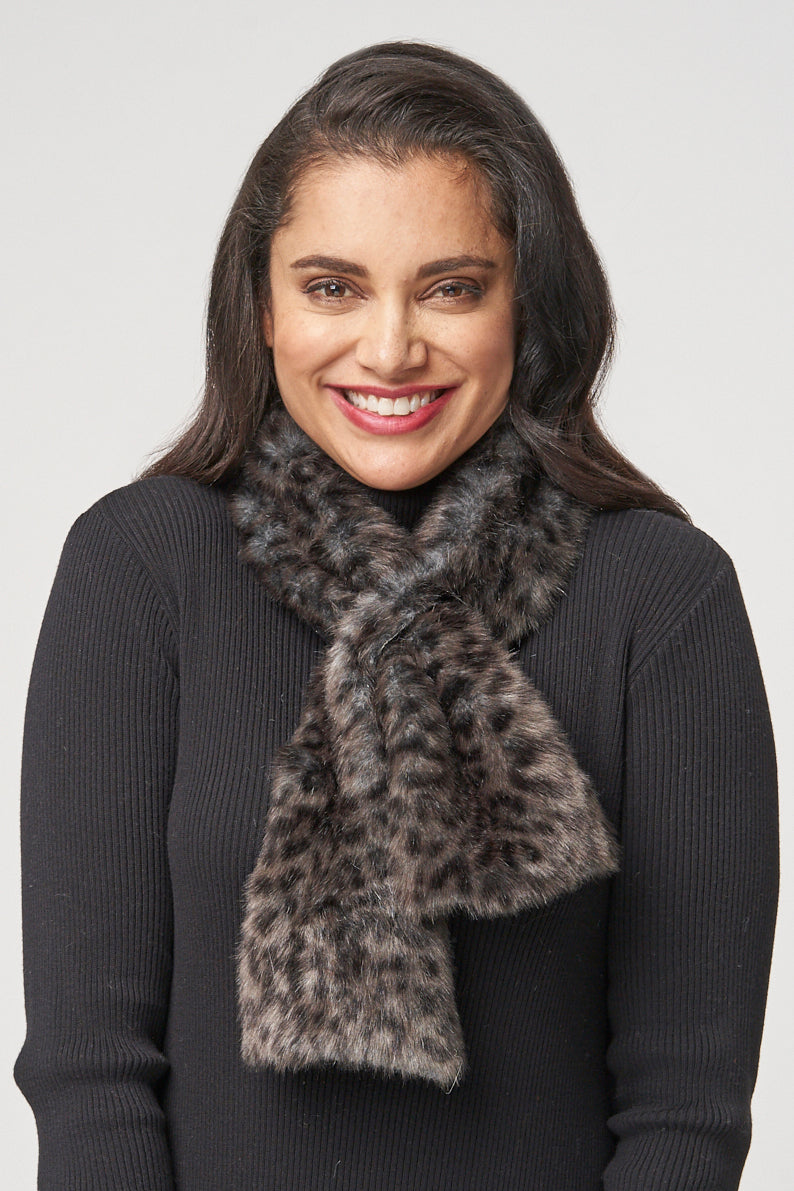 Layla Faux Fur Scarf - charcoal cheetah