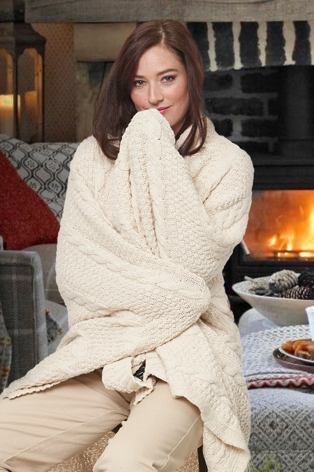 Classic cotton cable throw blanket - natural