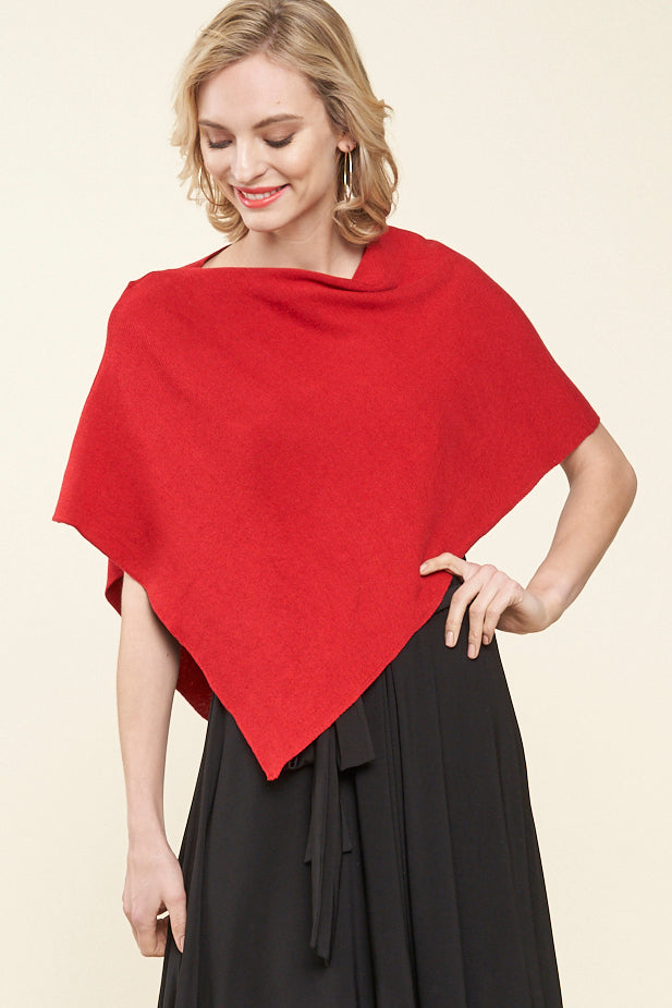 Capri Cropped One Size Poncho - red