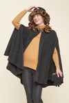 Eliana One Size Faux Fur Collar Cape - Parkhurst Knitwear