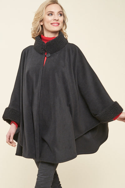 Desmona Faux Fur Trim Fleece Cape - Parkhurst Knitwear