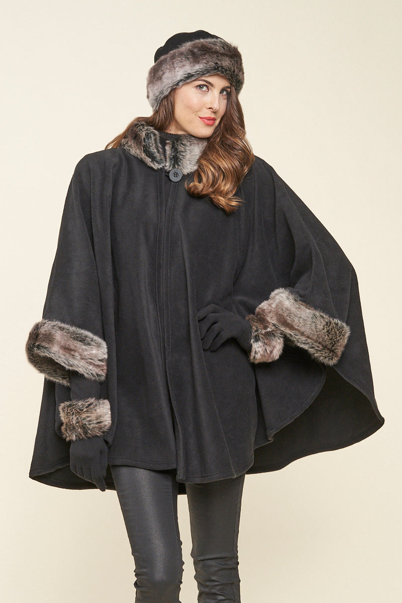 Desmona faux fur trim fleece cape - tundra