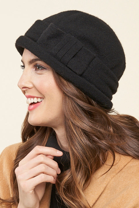 Charlie Wool Cloche Bow Hat - Parkhurst Knitwear