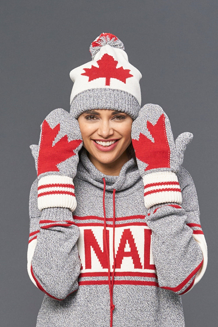 Canadiana eco cotton mitten - red/grey