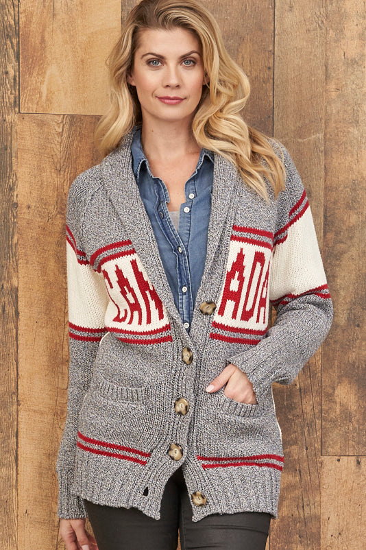 Canadiana eco cotton cardigan - red/grey
