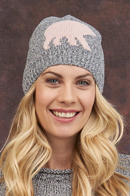 "Canadiana Eco Cotton ""Laurentian Bear"" Beanie/Toque - Parkhurst Knitwear"