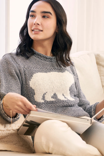 "Canadiana Eco cotton ""Laurentian Bear"" Pullover Sweater - Parkhurst Knitwear"