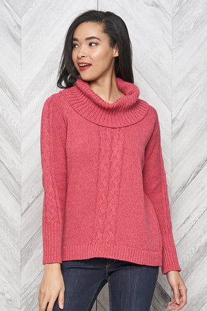 Bailey eco cotton cowl neck sweater - rose tweed