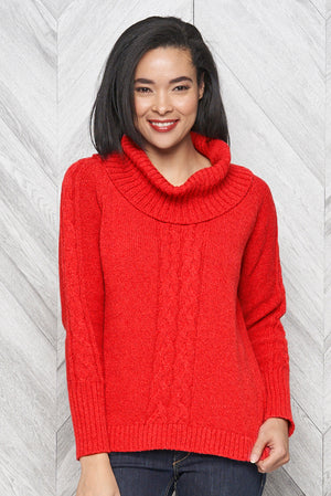 Bailey eco cotton cowl neck sweater - red