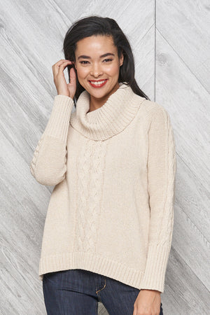 Bailey eco cotton cowl neck sweater - stone tweed