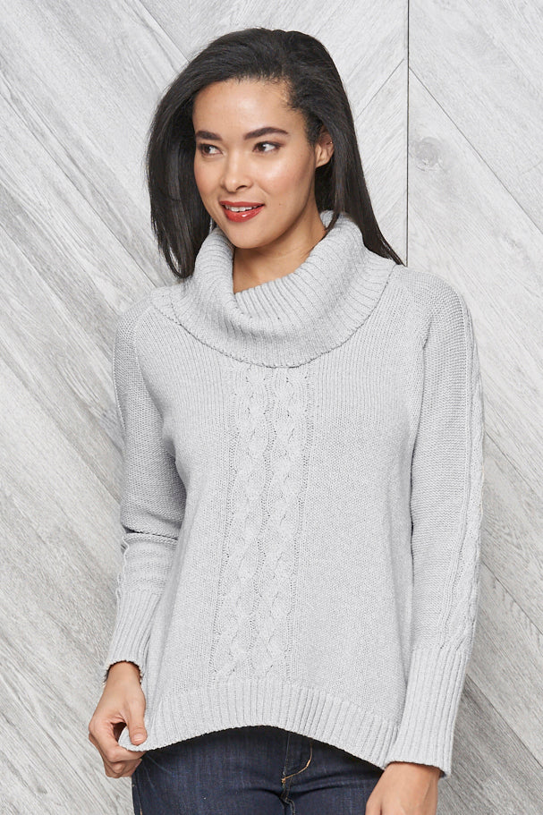 Bailey eco cotton cowl neck sweater - light grey tweed