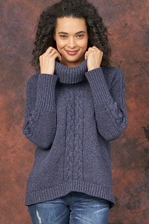 Bailey eco cotton cowl neck sweater - blue tweed