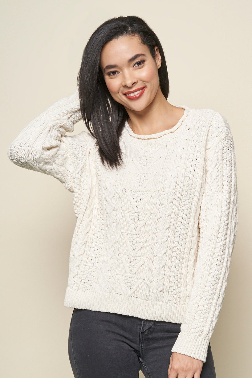 Jennifer eco cotton cable pullover sweater - natural