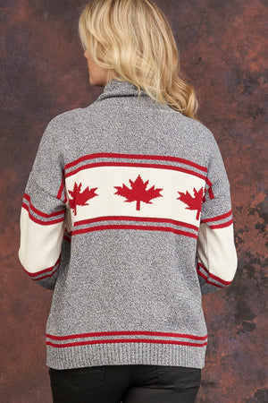 Canadiana eco cotton funnel pullover - back grey