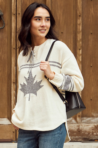 "Canadiana Eco Cotton ""Hockey"" Pullover Sweater - Parkhurst Knitwear"