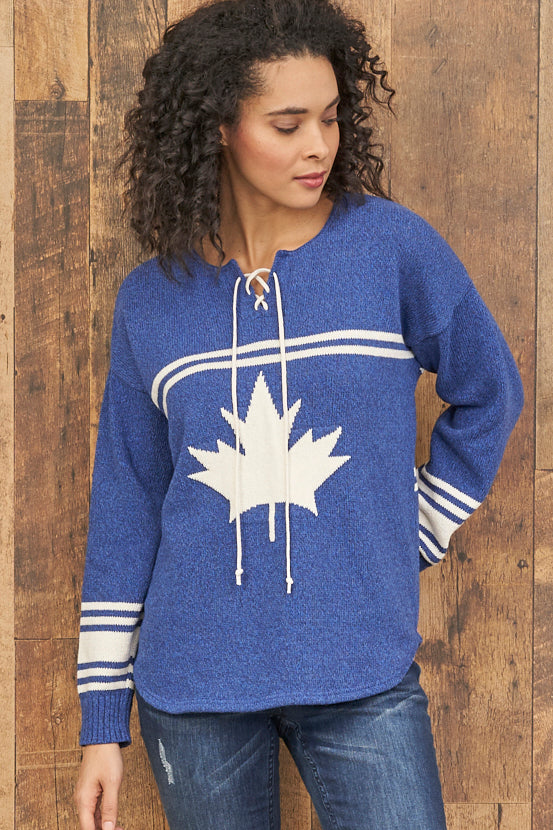 Canadiana eco cotton hockey pullover - front blue