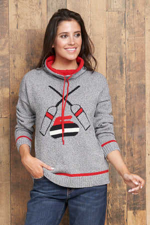 "Canadiana Eco Cotton ""Curling"" High neck/Funnel Pullover Sweater - Parkhurst Knitwear"