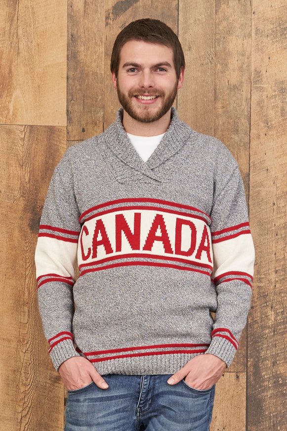 Canadiana Eco Cotton Shawl Collar Pullover Sweater for Men - Parkhurst Knitwear