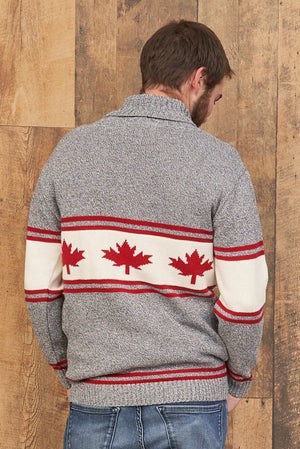 Canadiana eco cotton shawl collar pullover sweater for men - back