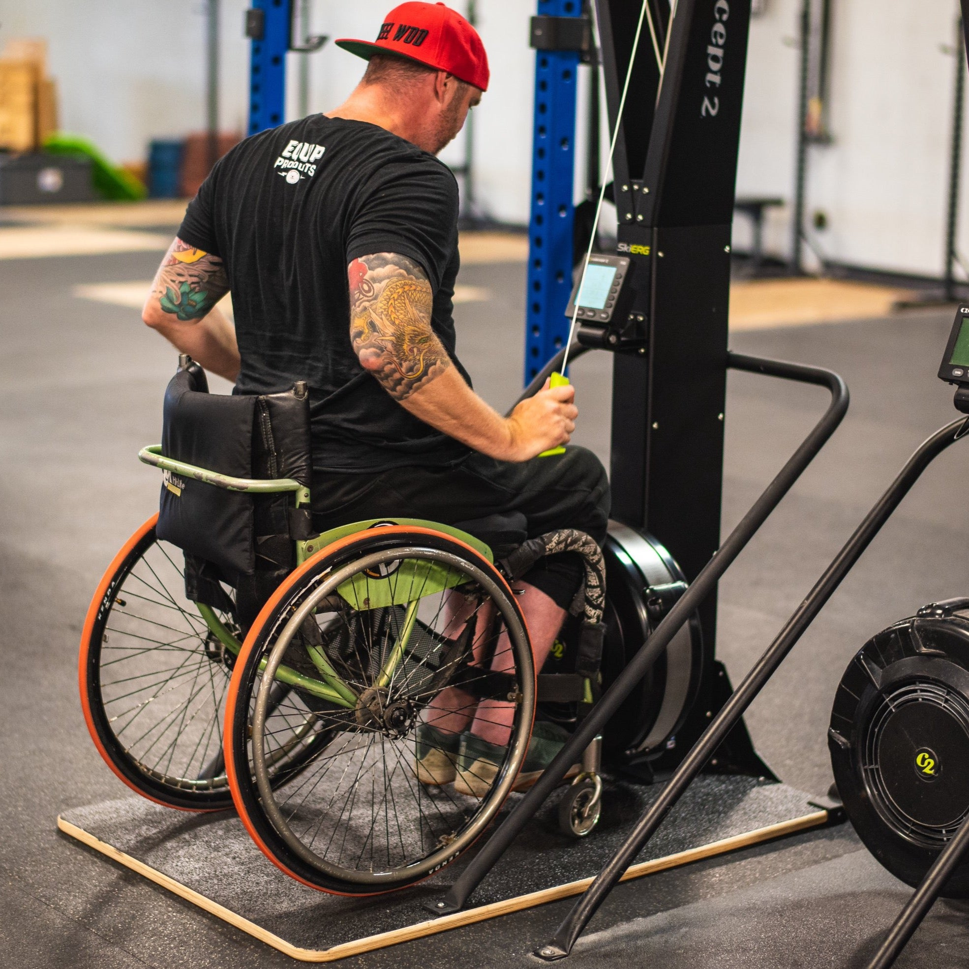 "Wheelchair Athlete ""GOAT"" Stouty on Concept2 Ski Erg Using Equip's Adaptive Wider Base"