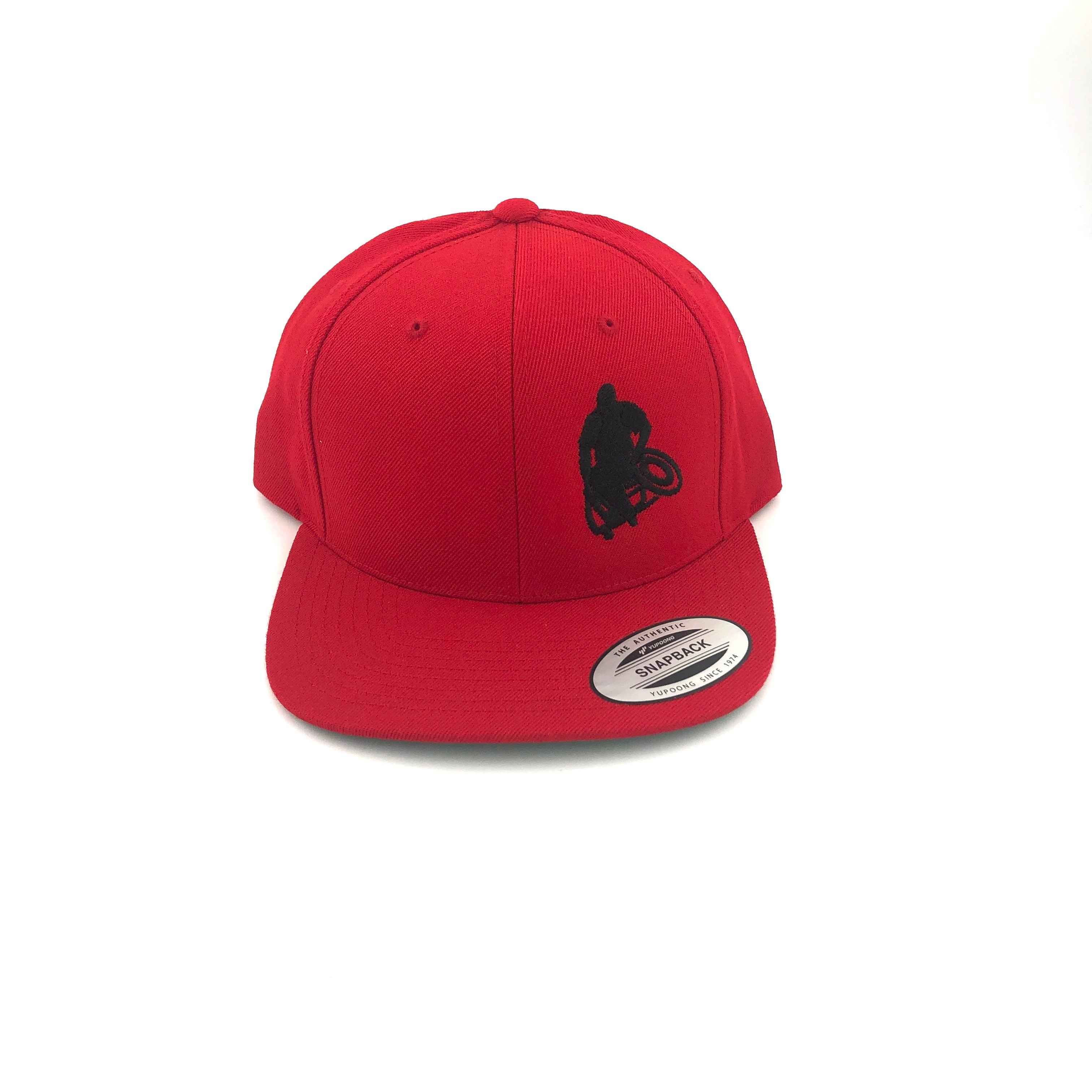Red Flat-brim hat with black Wheelwod Logo on right front panel