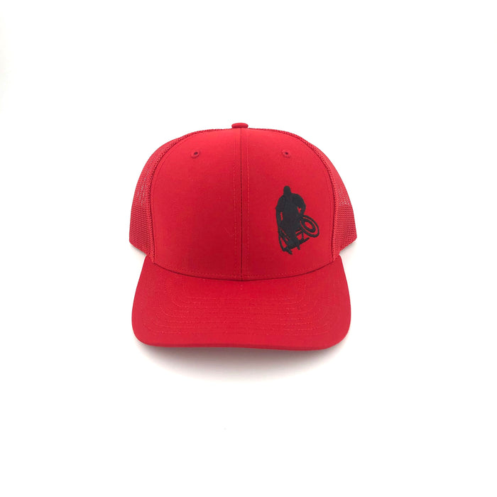 "Red Wheelwod Trucker Hat With ""Stouty"" Logo on the left panel"