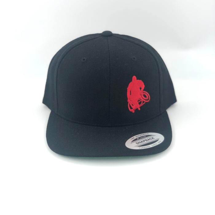 Black Flat-brim hat with red Wheelwod Logo on right front panel