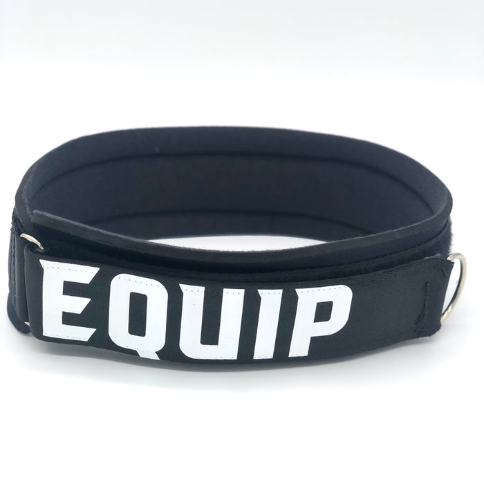 Large Leg Strap black with white lettering that reads Equip, on a white background.