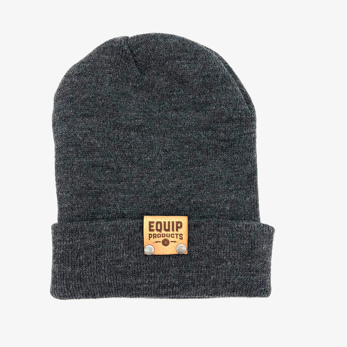 Cuffed Beanie with Leather Tab