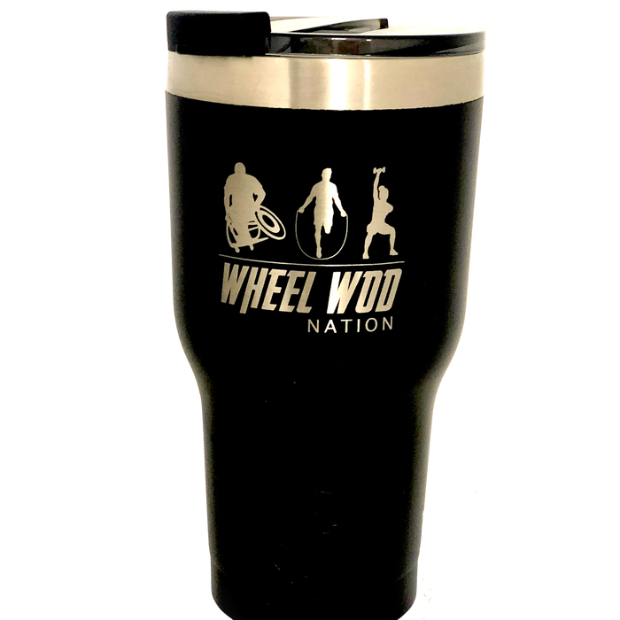 RTIC Tumbler 20oz. with Wheelwod logo showing and Equip logo on the other side.