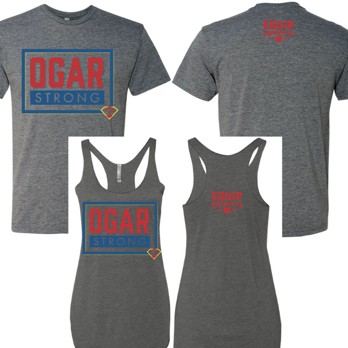 T-shirt and tanks with Ogar Strong Logo in red and blue on the front and Equip logo in red on the back collar