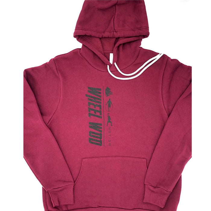 Maroon super soft hoodie style sweatshirt with Wheelwod Log down the front vertically.