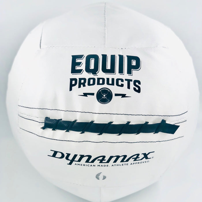 White Dynamax Wall Ball made exclusively for Equip Products to allow for contrast by the visually impaired. White contrasting background.