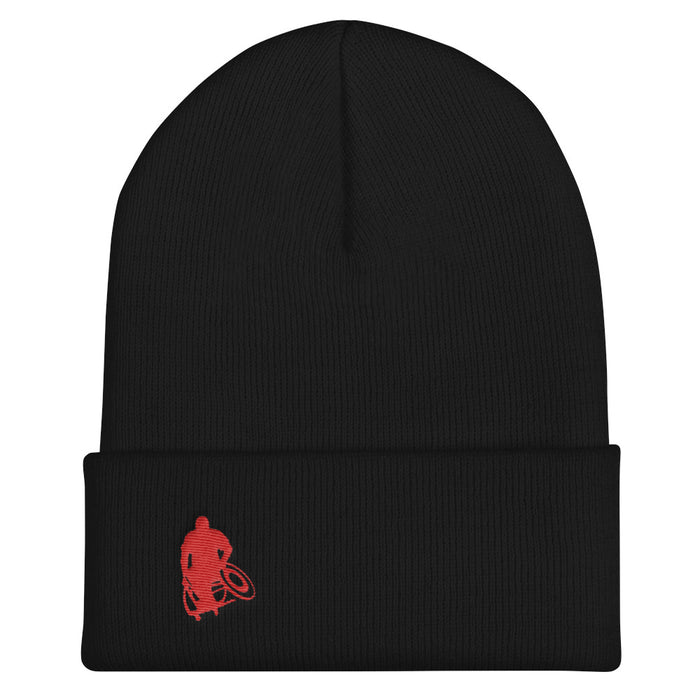 Black beanie / stocking cap with red Wheelwod Logo embroidered