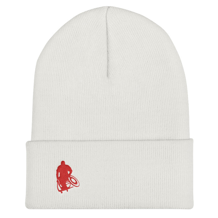 White beanie / stocking cap with red Wheelwod Logo embroidered