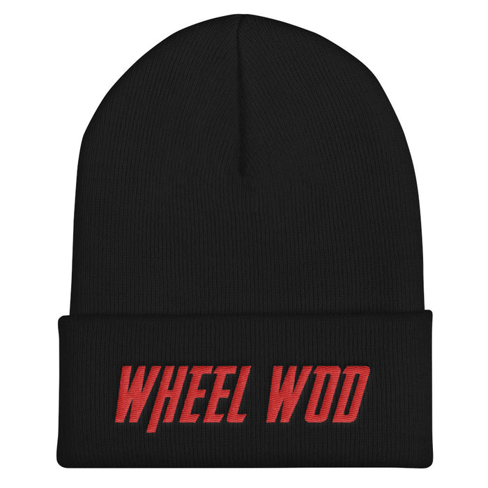 "Black Beanie / stocking cap with red lettering that states ""Wheelwod"""