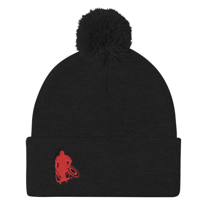 Black beanie / stocking cap with ball at the top and red Wheelwod Logo embroidered
