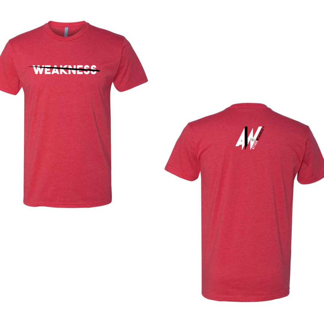Attack Weakness Red Shirt Front and Back Picture