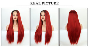 This is Ombre Red Long Straight Synthetic Lace Front Wigs-real picture