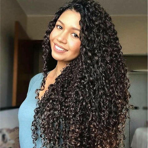 This is L Part Deep Curly Synthetic Lace Front Wig.