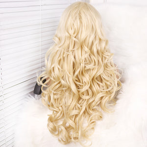 COLODO 180 Density Loose Wave Wig Heat Resistant Blonde Synthetic Lace Front Wigs With L Part