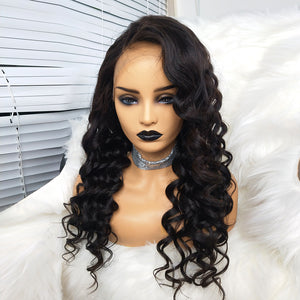 COLODO 100%Virgin Human Hair Curly 360 Lace Front Wigs For Black Women Nature Color